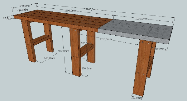 Bricolage diy fabriquer son tabli en bastaing tape 1 les pieds - Fabriquer un etabli en fer ...