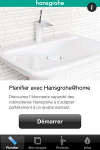 Interface d'accueil de l'application Hansgrohe @home
