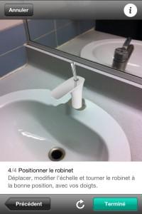 Positionnez le robinet en le redimensionnant