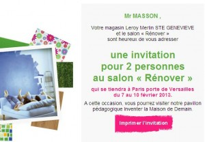 Invitation Salon Renover par Leroy Merlin