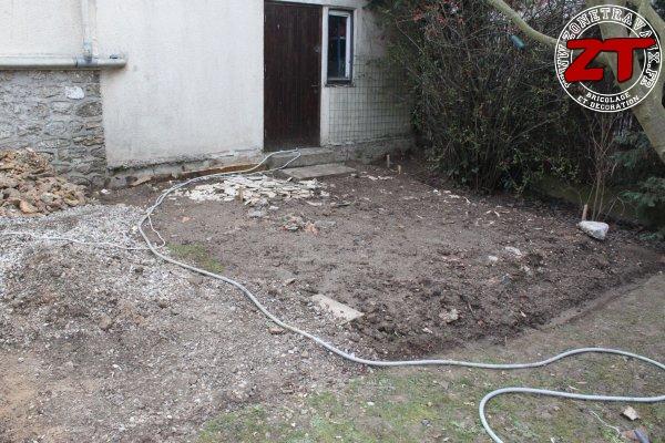 Terrasse - Ajout des gravas pour mise à niveau