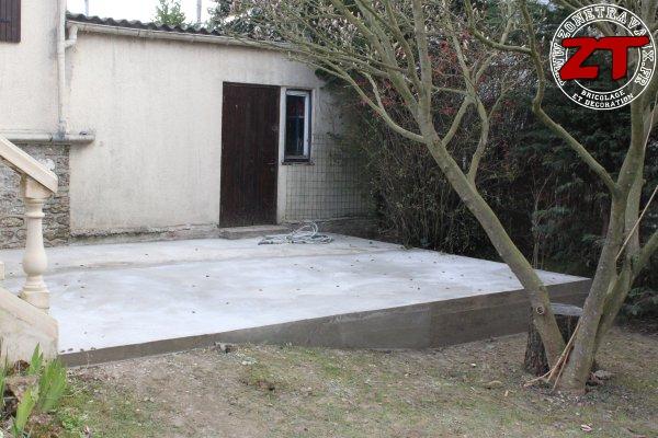 Terrasse - Dalle en béton finalisée