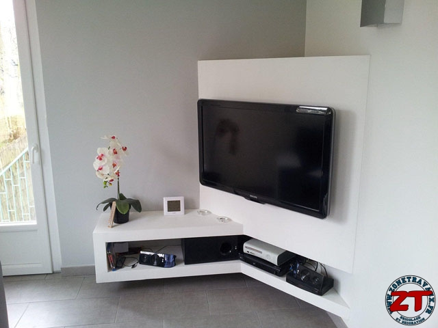 Tuto cr ation d 39 un meuble tv en placo - Comment cacher les fils de la tv accrochee au mur ...